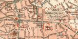 Aachen historischer Stadtplan Karte Lithographie ca. 1909