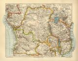 Äquatorial Afrika historische Landkarte Lithographie...