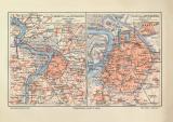 Antwerpen historischer Stadtplan Karte Lithographie ca. 1908