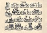 Velociped Fahrrad Holzstich 1902 Original der Zeit