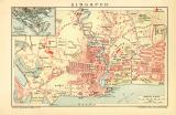 Singapur Stadtplan Lithographie 1903 Original der Zeit