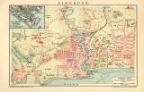 Singapur Stadtplan Lithographie 1910 Original der Zeit