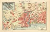 Singapur Stadtplan Lithographie 1912 Original der Zeit