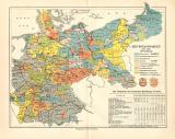 Farbig illustrierte Landkarte zu den Reichstagswahlen des...
