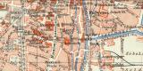 Augsburg historischer Stadtplan Karte Lithographie ca. 1909