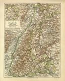 Baden historische Landkarte Lithographie ca. 1904