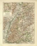 Baden historische Landkarte Lithographie ca. 1905