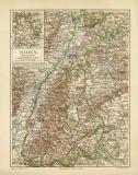 Baden historische Landkarte Lithographie ca. 1906
