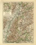 Baden historische Landkarte Lithographie ca. 1908