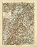 Baden historische Landkarte Lithographie ca. 1910