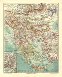 Balkan Halbinsel historische Landkarte Lithographie ca. 1904