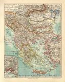 Balkan Halbinsel historische Landkarte Lithographie ca. 1906
