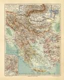 Balkan Halbinsel historische Landkarte Lithographie ca. 1908