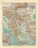 Balkan Halbinsel historische Landkarte Lithographie ca. 1910