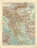 Balkan Halbinsel historische Landkarte Lithographie ca. 1913