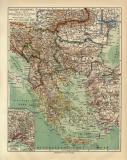Balkan Halbinsel historische Landkarte Lithographie ca. 1914