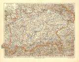 Bayern Karte Südlicher Teil historische Landkarte...