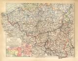 Belgien historische Landkarte Lithographie ca. 1912