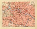 Berlin historischer Stadtplan Karte Lithographie ca. 1906