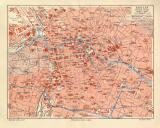 Berlin historischer Stadtplan Karte Lithographie ca. 1904
