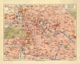Berlin historischer Stadtplan Karte Lithographie ca. 1907