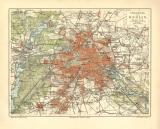 Berlin Umgebung historischer Stadtplan Karte Lithographie...
