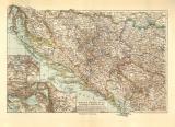 Bosnien Montenegro historische Landkarte Lithographie ca....