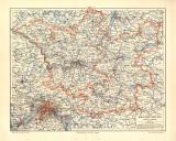 Brandenburg historische Landkarte Lithographie ca. 1904