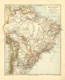 Brasilien historische Landkarte Lithographie ca. 1905