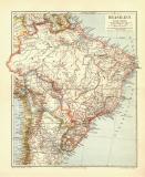Brasilien historische Landkarte Lithographie ca. 1906