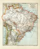 Brasilien historische Landkarte Lithographie ca. 1908