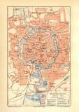 Braunschweig historischer Stadtplan Karte Lithographie...
