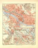 Bremen historischer Stadtplan Karte Lithographie ca. 1904