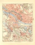 Bremen historischer Stadtplan Karte Lithographie ca. 1906