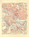 Bremen historischer Stadtplan Karte Lithographie ca. 1908