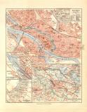 Bremen historischer Stadtplan Karte Lithographie ca. 1910