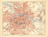 Breslau historischer Stadtplan Karte Lithographie ca. 1904