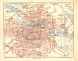 Breslau historischer Stadtplan Karte Lithographie ca. 1906