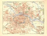 Breslau historischer Stadtplan Karte Lithographie ca. 1907