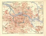 Breslau historischer Stadtplan Karte Lithographie ca. 1908