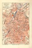 Brüssel historischer Stadtplan Karte Lithographie ca. 1910