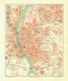 Budapest historischer Stadtplan Karte Lithographie ca. 1906