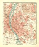 Budapest historischer Stadtplan Karte Lithographie ca. 1908