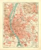 Budapest historischer Stadtplan Karte Lithographie ca. 1910