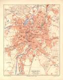 Chemnitz historischer Stadtplan Karte Lithographie ca. 1906