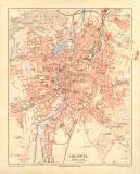 Chemnitz historischer Stadtplan Karte Lithographie ca. 1908