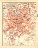 Chemnitz historischer Stadtplan Karte Lithographie ca. 1910