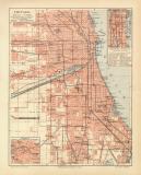 Chicago historischer Stadtplan Karte Lithographie ca. 1905