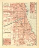 Chicago historischer Stadtplan Karte Lithographie ca. 1906