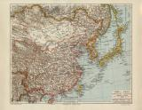 China Japan historische Landkarte Lithographie ca. 1904